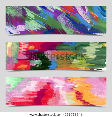 Set of three vector banners, Abstract color background cards, full image under mask, vector illustration