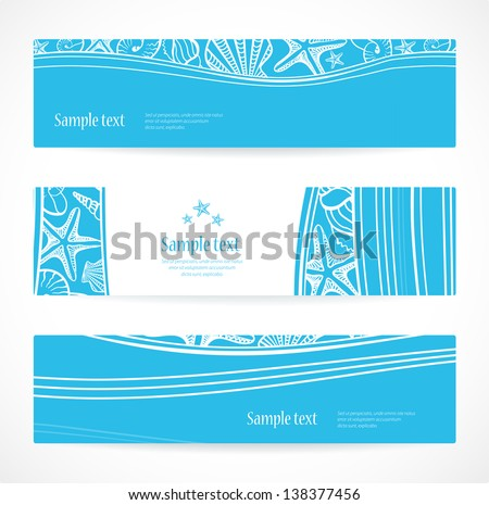 Set of three vector banners or headers with seashells. - stock vector