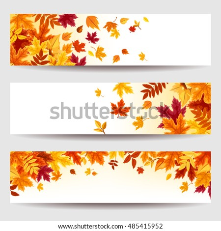 Set of three vector banners with red, orange, brown, purple and yellow autumn leaves.