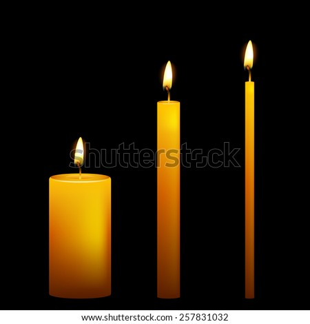 Set of three vector candles on dark background. Vector EPS10 illustration.