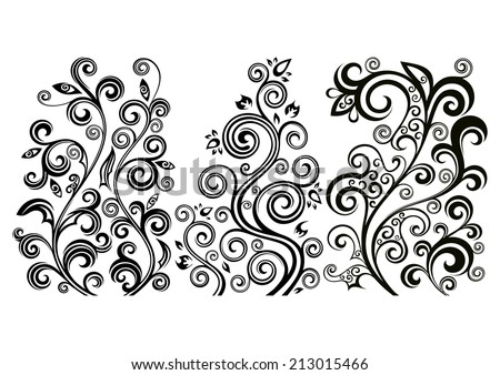 Set of three vector floral illustrations. - stock vector