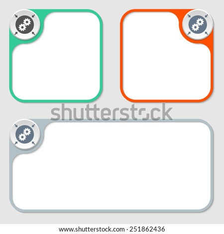set of three vector frames and cogwheels - stock vector