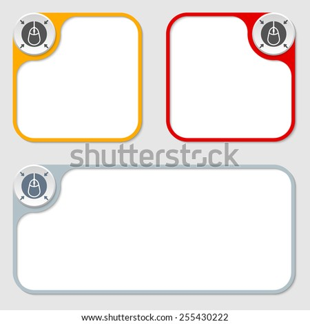set of three vector frames and mouse icon - stock vector