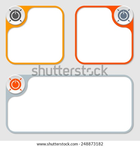 set of three vector frames and power button - stock vector