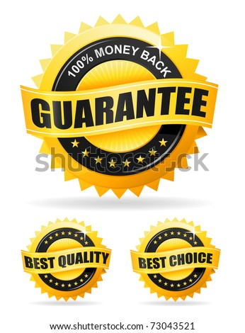 Set of three vector gold labels - money back guarantee, best quality and best choice - stock vector
