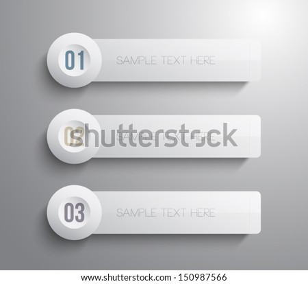 Set of three vector paper step banners with round buttons - stock vector