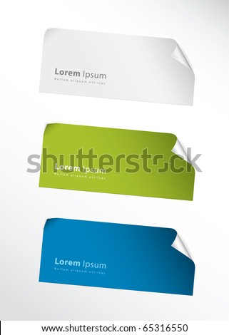 Set of three vector stickers for your text - stock vector