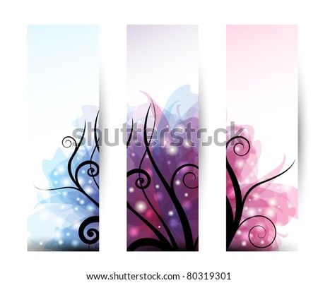 Set of three vertical banner with black swirls and transparent effects - stock vector