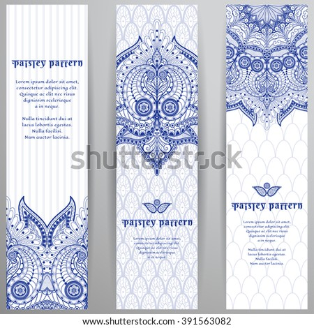 Set of three vertical banners. Floral oriental paisley pattern on delicate ethnic backdrop. - stock vector