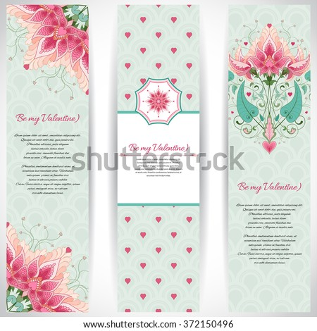 Set of three vertical banners with fantasy floral background. Delicate ornament on backdrop. Wedding or Valentine's Day. All design elements consist of hearts. Place for your text.