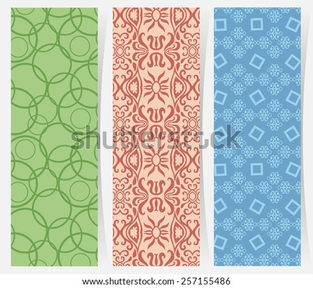 Set of three vertical geometric banners or bookmarks. Abstract decorative ethnic ornamental backgrounds, border lace patterns set. Series of image template frame - stock vector
