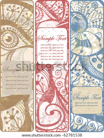 Set of three vintage banners with ornament and retro floral elements EPS10 - stock vector