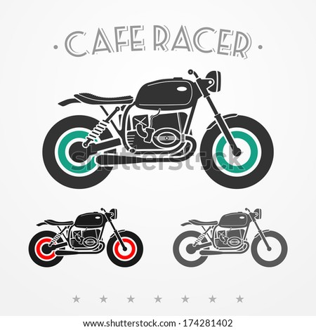 Set of three vintage flat looking motorcycles in gray colors - stock vector
