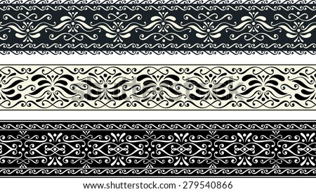 set of three vintage seamless pattern borders with abstract ornaments - stock vector