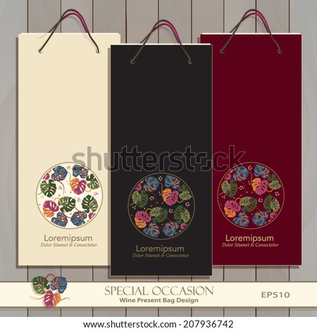 Set of three Wine Gift Bags. Red, white & any wine or spirit present bag design. Circle decorative banner with exotic tropical motif. Tropical pattern masked. Vector Editable. Tropical leafs icon.   - stock vector