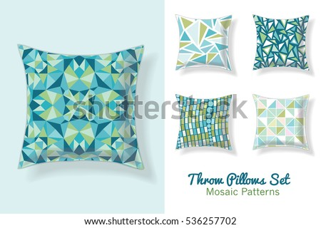 Set Of Throw Pillows In Matching Unique Abstract Geometric Seamless Patterns. Square Shape. Editable Vector Template.
