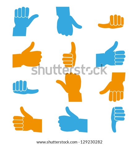 Set Of Thumbs Up and Down - Icons Isolated On White Background - Vector illustration, Graphic Design Useful For Your Web Design. Logo Symbol - stock vector