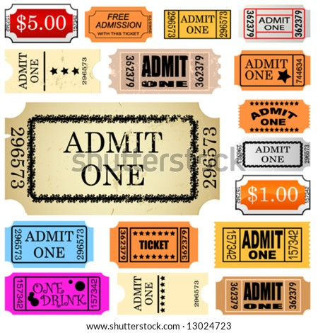 set of ticket admit one vector - stock vector