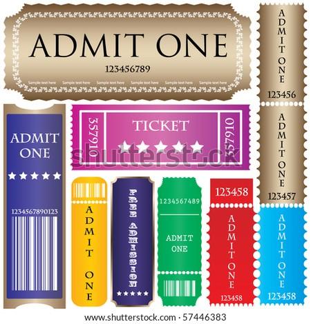 set of ticket admit one vector - stock vector