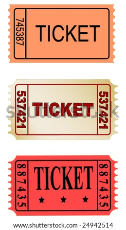 set of tickets - stock vector