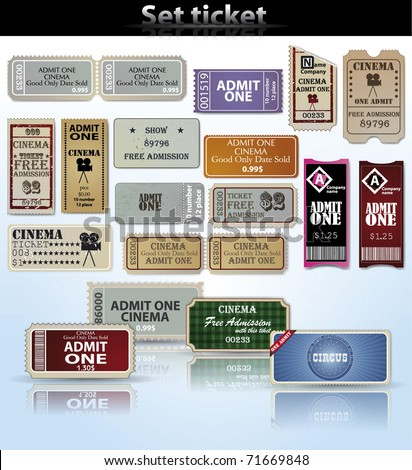 Set of tickets and marks in different styles. Vector - stock vector