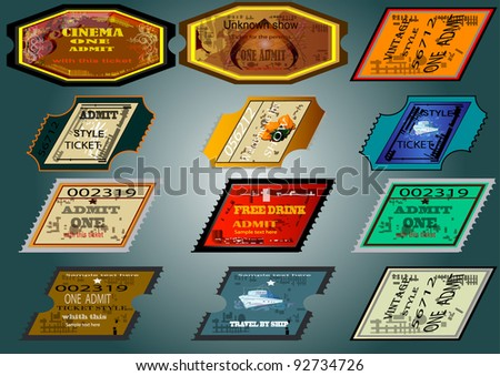 Set of tickets in various styles