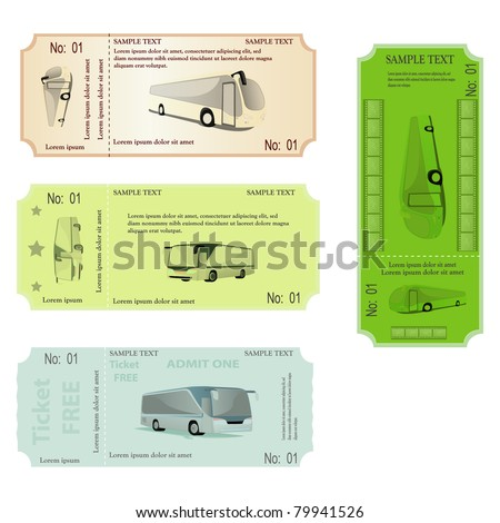 set of tickets with bus.  vector illustration - stock vector