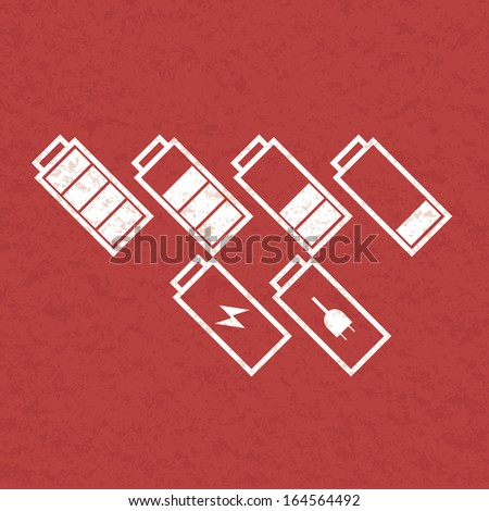 Set of tilted battery icons. Vector - stock vector