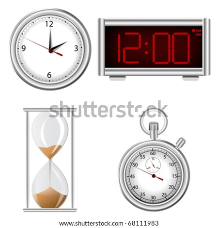 Set of time measurement instruments icons - stock vector