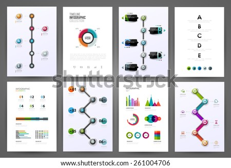Set of timeline infographic design templates. Diagrams, charts and design elements.  - stock vector