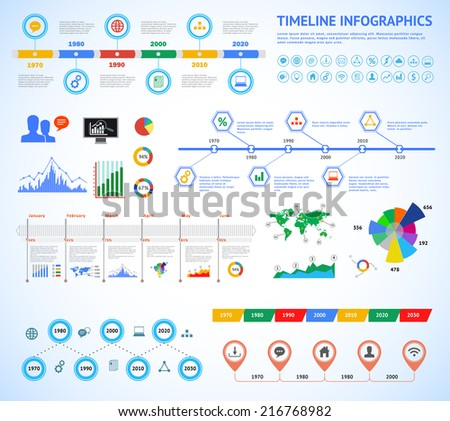 Set of timeline Infographic with diagrams and text.  Vector Concept Illustration for business presentation, booklet, web site etc.  - stock vector