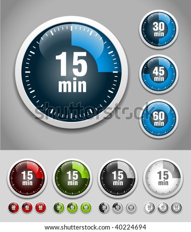 Set of timers. Different colors. Vector Illustration - stock vector