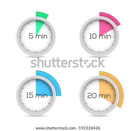 Set of timers - five, ten, fifteen and twenty minutes - stock vector