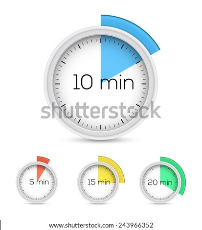 Set of timers - five, ten, fifteen and twenty minutes. Vector illustration - stock vector