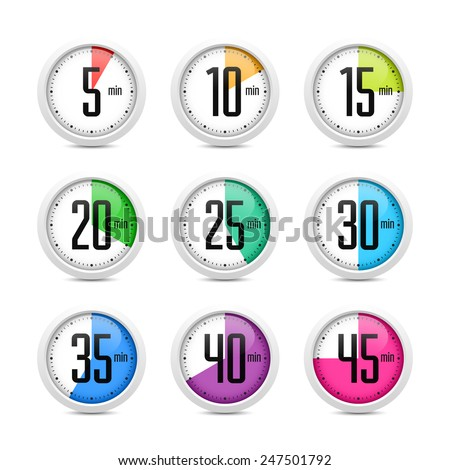 Set of timers. Vector. - stock vector