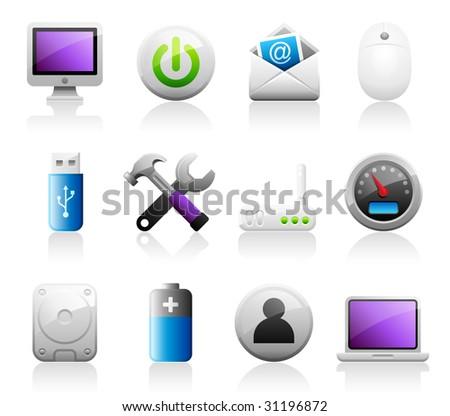 Set of 12 Titanium Series computer icons - stock vector