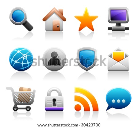 Set of 12 Titanium Series web and internet icons - stock vector