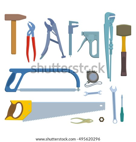 Set of tool icons. Colorful illustration of repair tools for decoration. Vector.