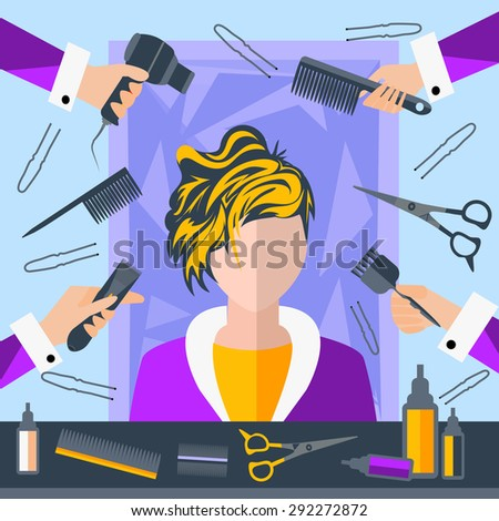 Set of tools for hairdressers in a flat style. Girl in a beauty salon. In the hands of stylists comb, hair brush. The modern concept of icons for your design. Vector Illustration - stock vector
