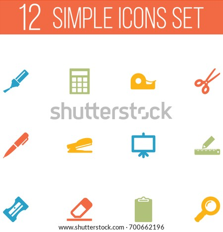 Set Of 12 Tools Icons Set.Collection Of Zoom Glasses, Ink, Rubber And Other Elements.