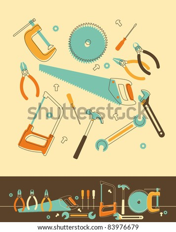 Set of Tools in Retro-Styled - stock vector