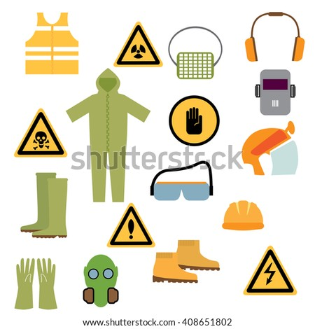 Set of tools, signs and protective clothing and equipment for safe work. - stock vector