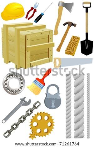 Set of tools. Vector - stock vector