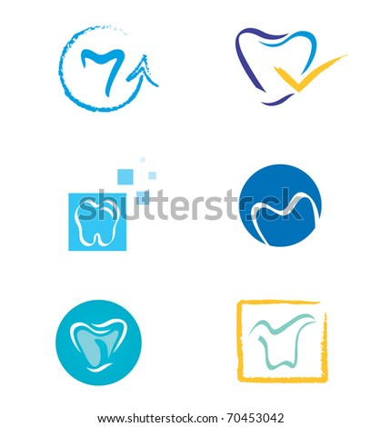 Set of Tooth Icons in Various Shapes - stock vector