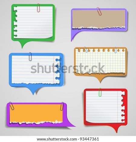 Set of torn paper speech bubbles.Vector eps 10 - stock vector