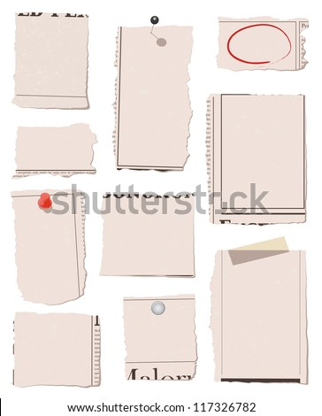 Set of torn paper with different thumbtacks. All objects have clipping paths. Text or artwork is easy to add. Object and colors are isolated and grouped. - stock vector