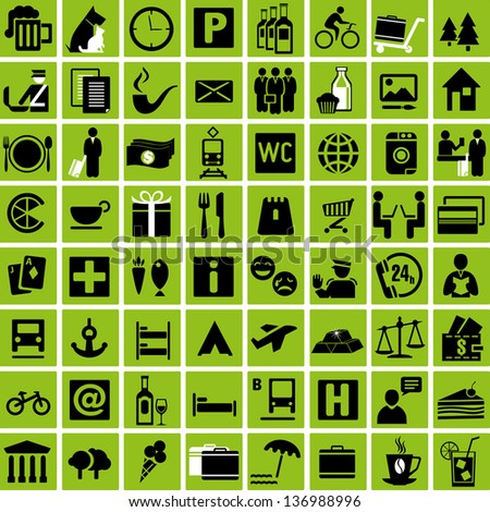 Set of tourist information icons. Vector illustration - stock vector