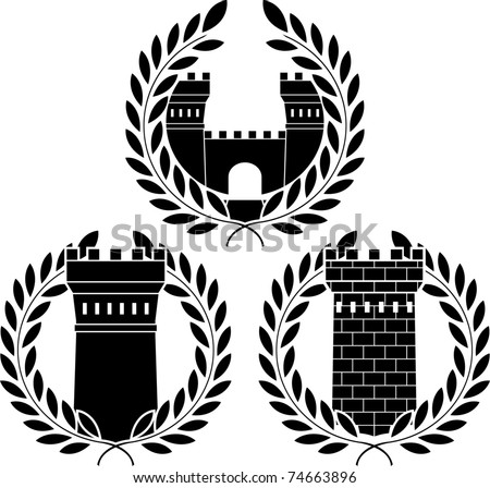 set of towers. stencils. vector illustration - stock vector