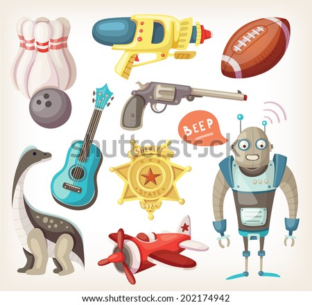Set of toys for children and some inventory for sports - stock vector