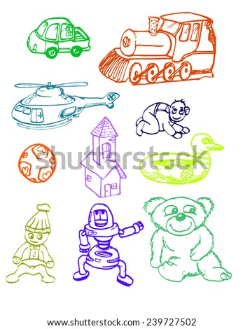 set of toys isolated on white - stock vector